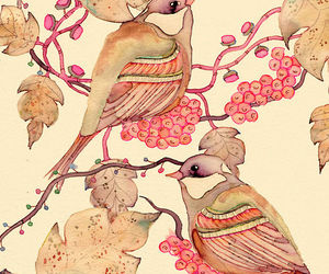 bird, art, and pink image