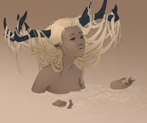 girl, illustration, and antlers image