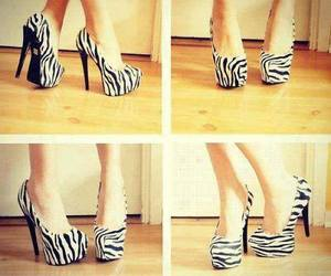 heels, shoes, and zebra image