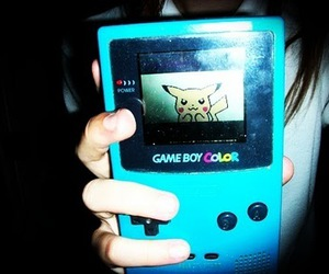 pikachu, gameboy, and blue image