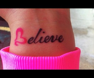 believe, tattoo, and pink image
