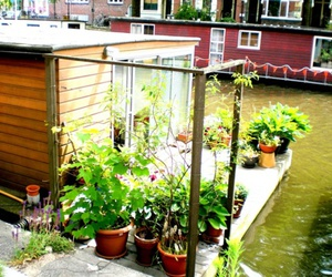 amsterdam, houseboat, and sun image
