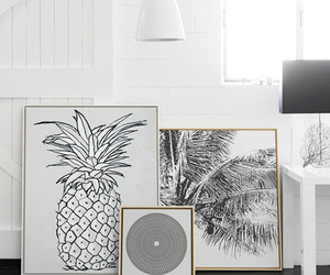 black and white, pineapple, and interiors image