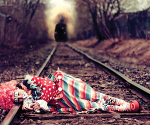 clown, train, and sad image