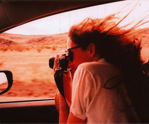 girl, camera, and car image