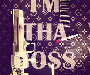 boss, gun, and lipstick image