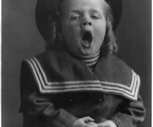 1909, yawn, and black and white image