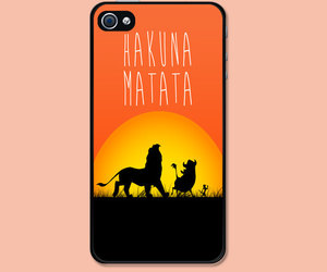 iphone case, hakuna matata, and lion king image