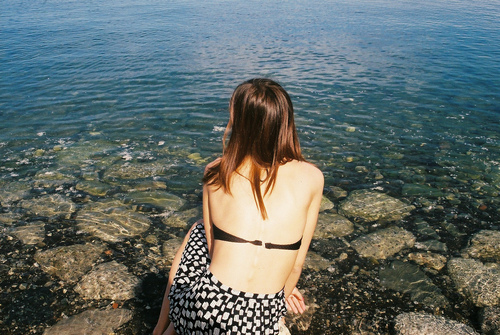 girl, bikini, and lake image