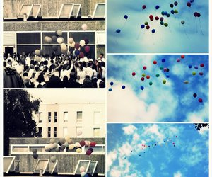 baloons, school, and sky image