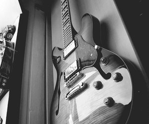 black and white, guitar, and rock image