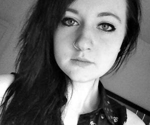 black and white, body mod, and double nose piercing image