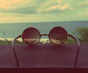 beach, glases, and mine image