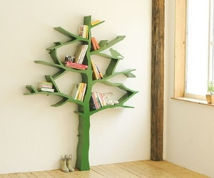 tree, book, and bookshelf image