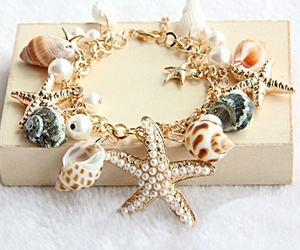 bracelet, shell, and beach image