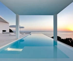 pool, sunset, and luxury image