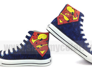 superman, superman logo, and fashion sneakers image