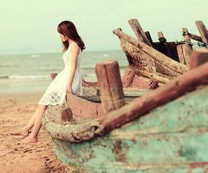 girl, beach, and boat image