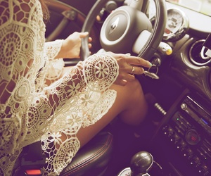 girl, car, and lace image