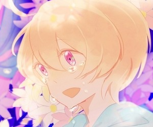 blonde hair, flower, and crying image