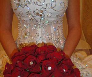 dress, wedding, and rose image