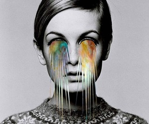 twiggy, black and white, and art image