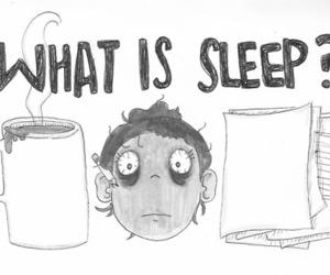 sleep, coffee, and black and white image