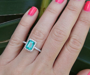 emerald, ring, and wedding image