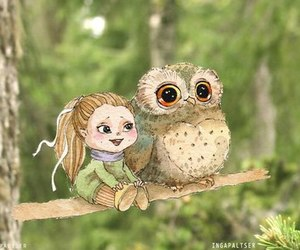 girl, owl, and cute image