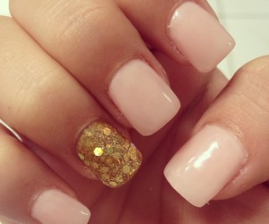 baby pink, gold, and manicure image