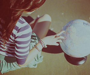 girl, world, and globe image