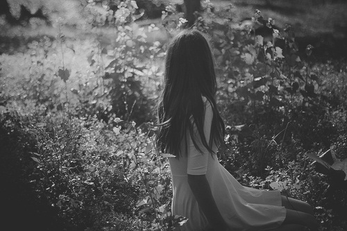 black and white, girl, and flowers image