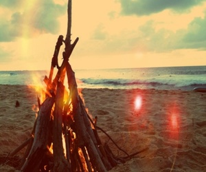 beach, summer, and fire image