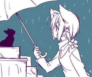 kawaii, umbrella, and neko image
