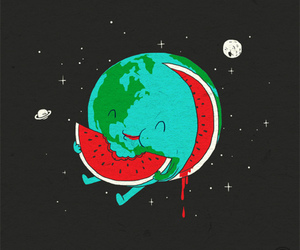 watermelon, earth, and moon image
