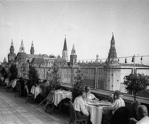 black and white, hotel, and urss image