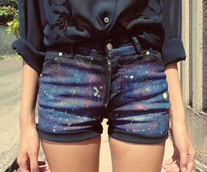 fashion, shorts, and galaxy image