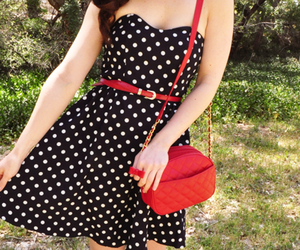 fashion, dress, and red image