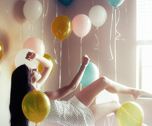 ballons, girl, and up in the air image