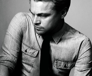 leonardo dicaprio, black and white, and Hot image