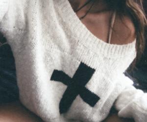 girl, sweater, and cross image