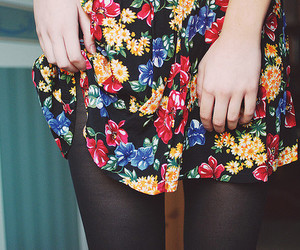 girl, floral, and flowers image