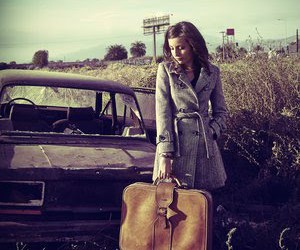 girl, car, and suitcase image