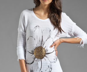 flower, sweater, and white image