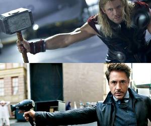 thor, iron man, and funny image