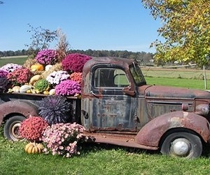 flowers, truck, and vintage image