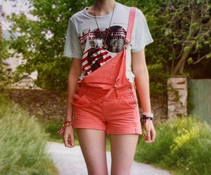 coral, t shirt, and dungarees image
