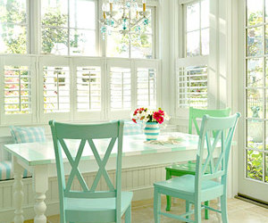 green, white, and chair image