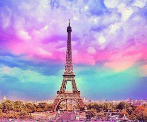 eiffel tower, pink, and rainbow image