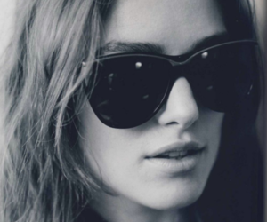 keira knightley, black and white, and sunglasses image